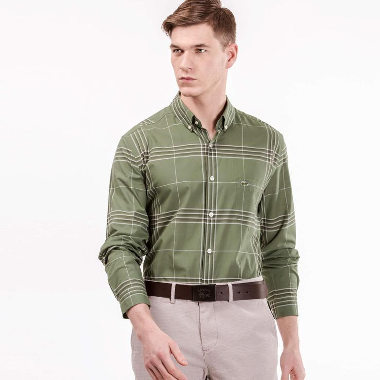 Lacoste Erkek Yeşil Regular Fit Uzun Kollu Gömlek
