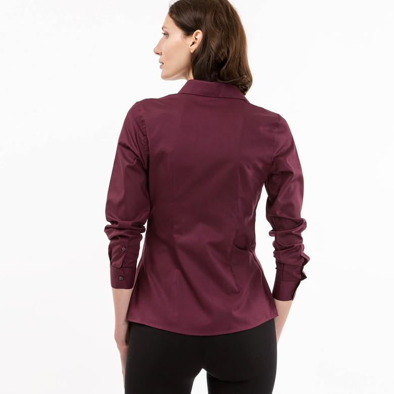 Lacoste Kadın Bordo Regular Fit Uzun Kollu Gömlek