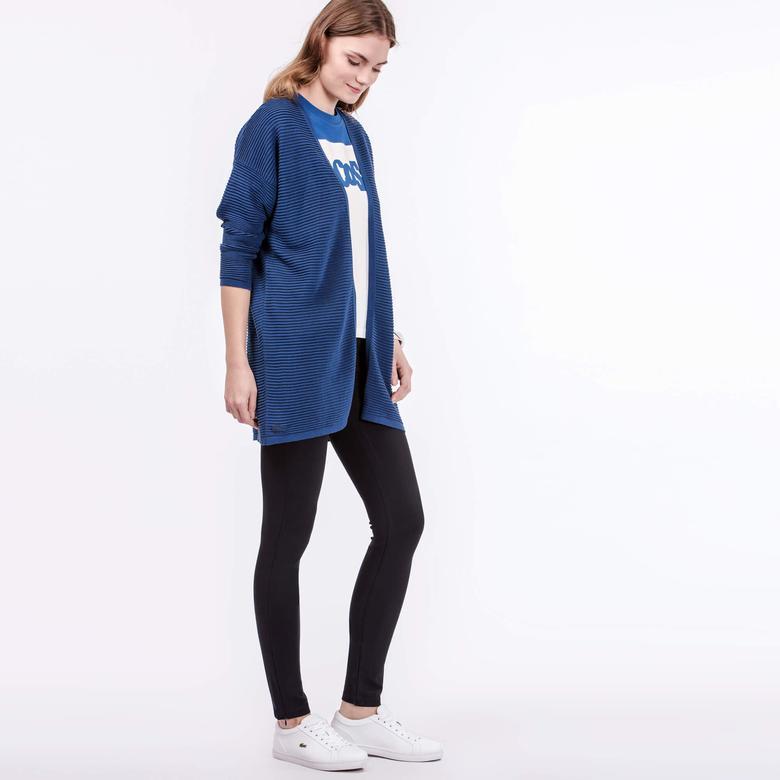 Lacoste Kadın Mavi Triko Hırka