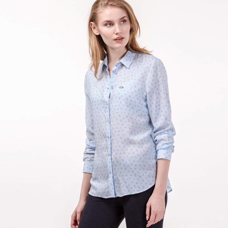 Lacoste Kadın Mavi Uzun Kollu Gömlek