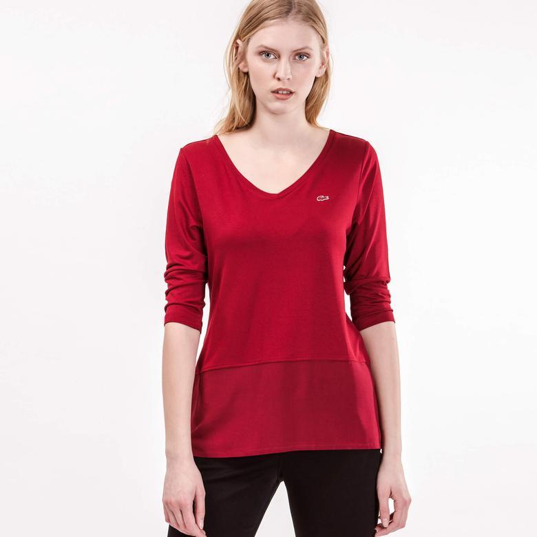 Lacoste Kadın Bordo Uzun Kollu T-Shirt