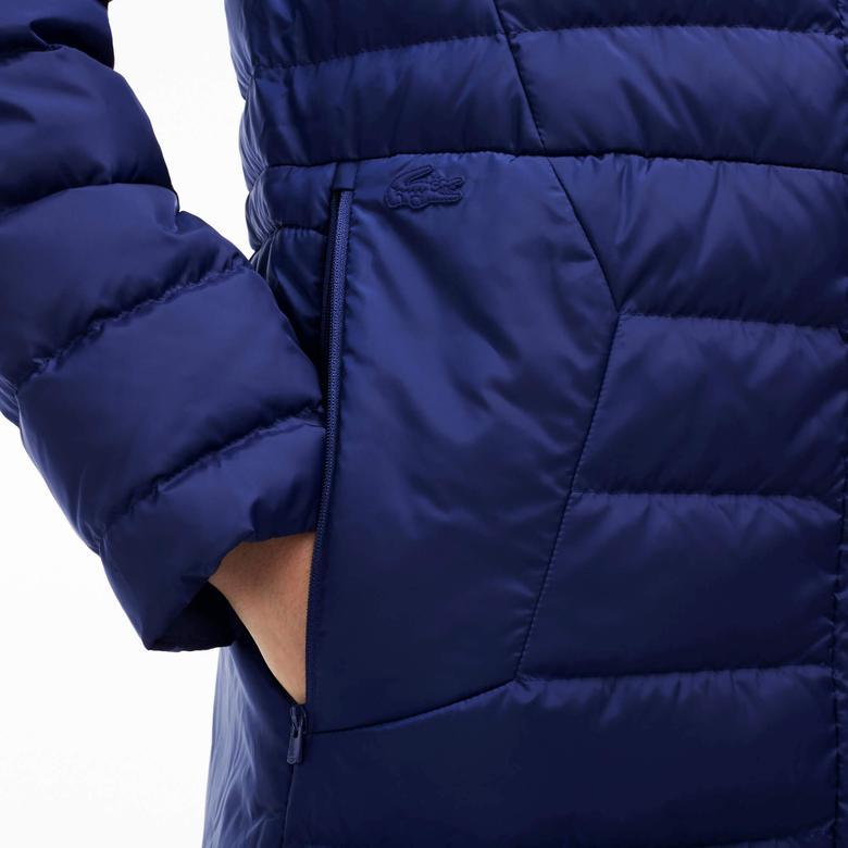 Lacoste Kadın Lacivert Kapüşonlu Uzun Puffer Mont