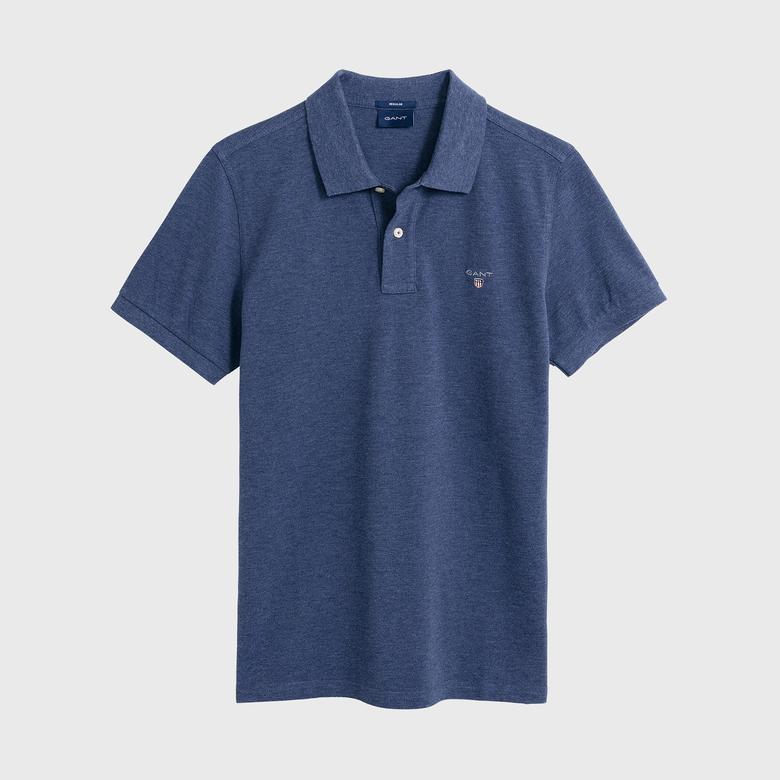 GANT Erkek Koyu Mavi Melanj Regular Fit Pique Polo