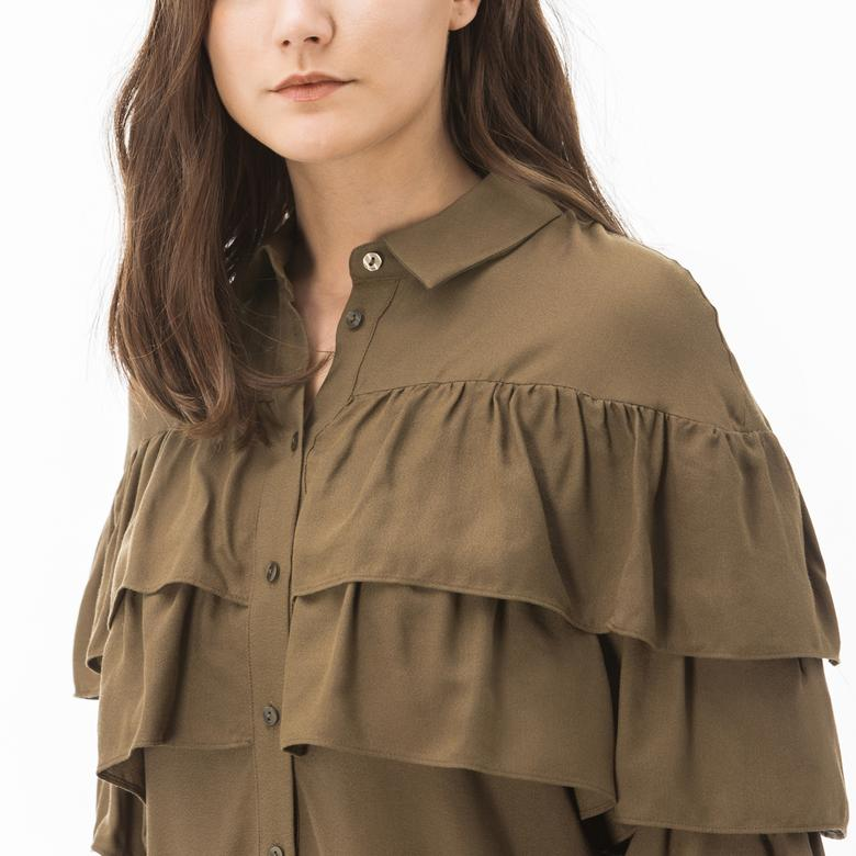 Lacoste Kadın Haki Gömlek