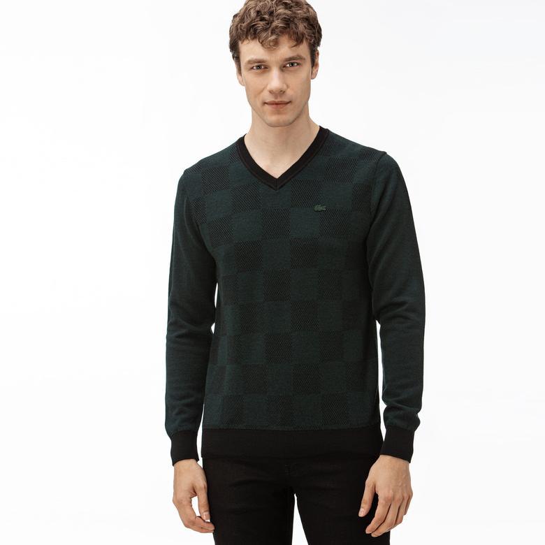 Lacoste Erkek V Yakalı Yeşil-Siyah Yün Triko Kazak