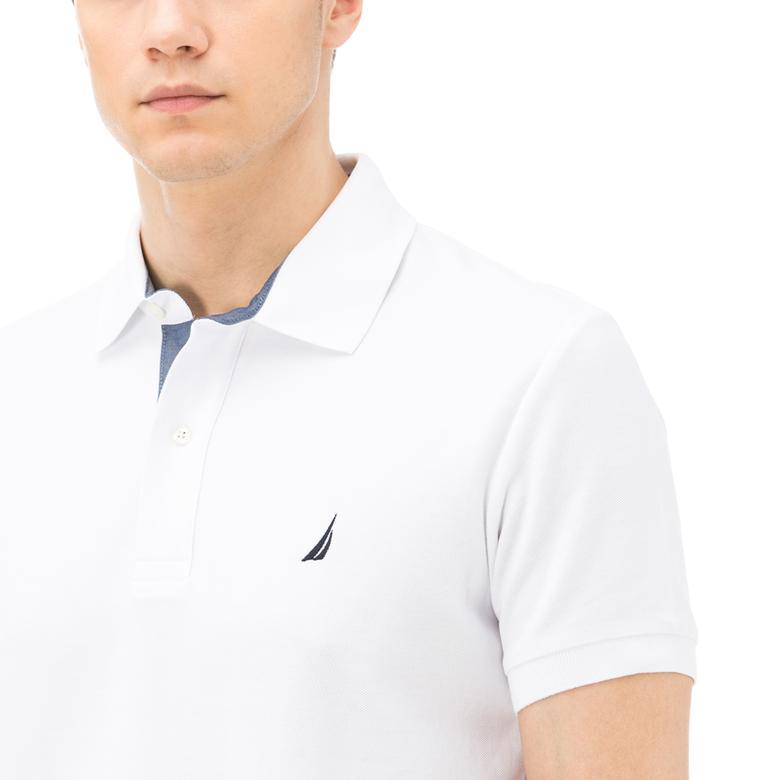 Nautica Erkek Slim Fit Beyaz Performans Polo