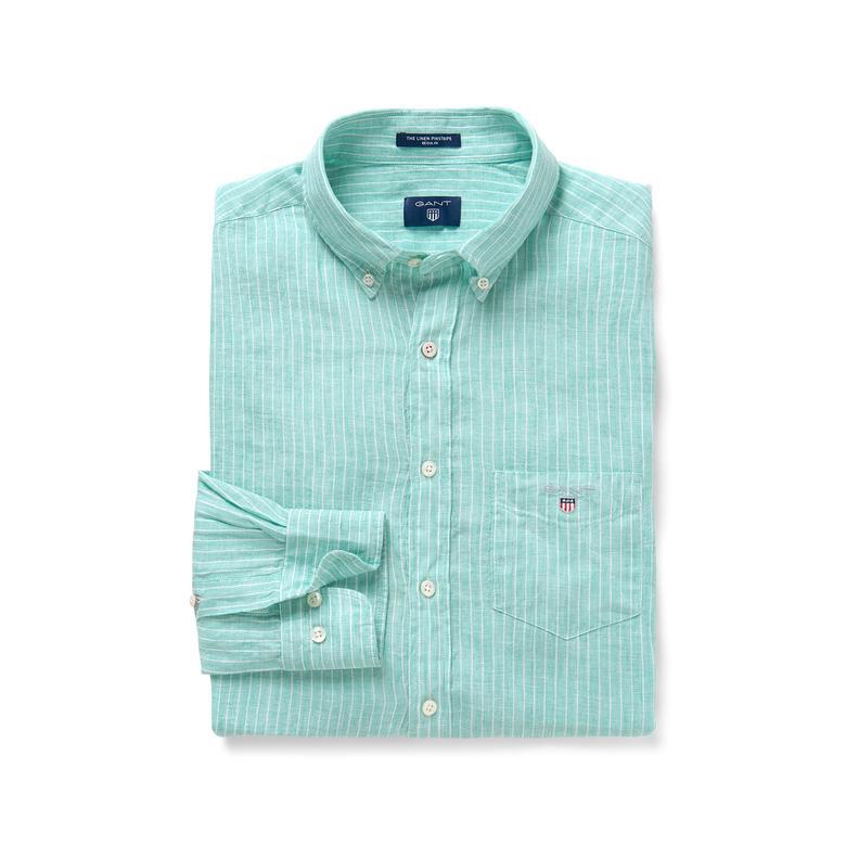 Gant Erkek Turkuaz Çizgili Regular Keten Gömlek