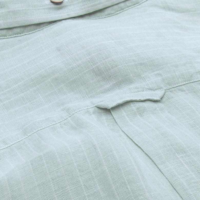 Gant Erkek Yeşil Çizgili Regular Keten Gömlek