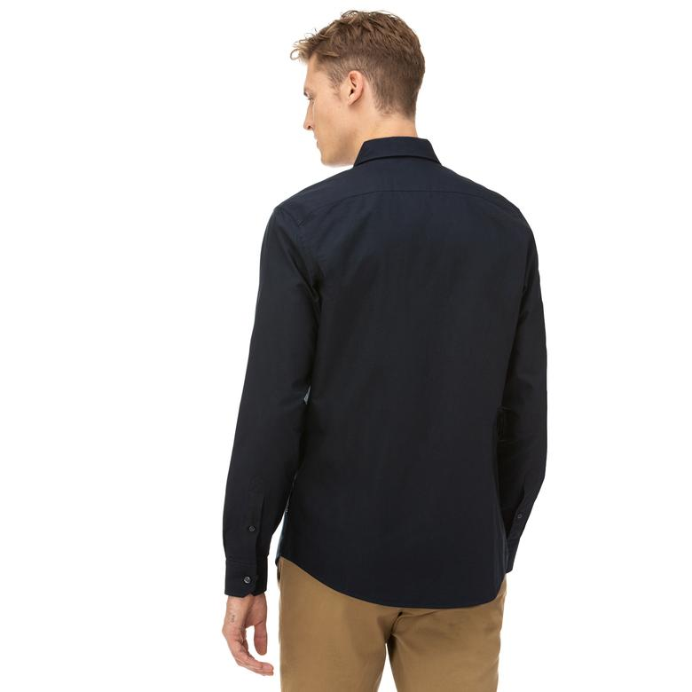 Nautica Erkek Slim Fit Düğmeli Yaka Lacivert Gömlek