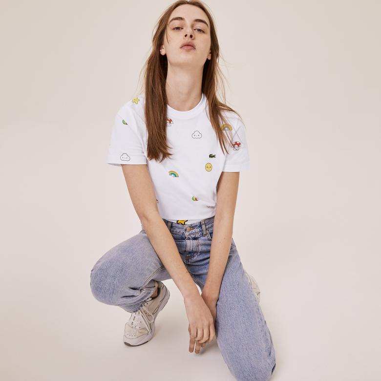 Lacoste X FriendsWithYou Unisex Desenli Beyaz T-Shirt