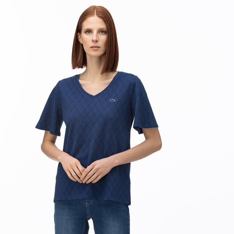 Lacoste Kadın V Yaka Desenli Lacivert T-Shirt