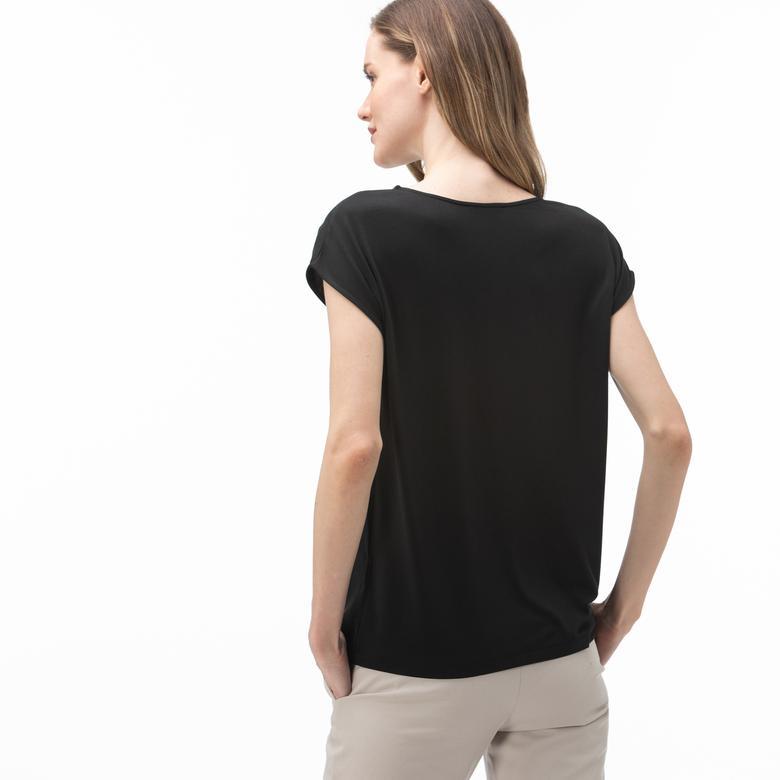 Lacoste Kadın Bisiklet Yaka Kolsuz Siyah Bluz