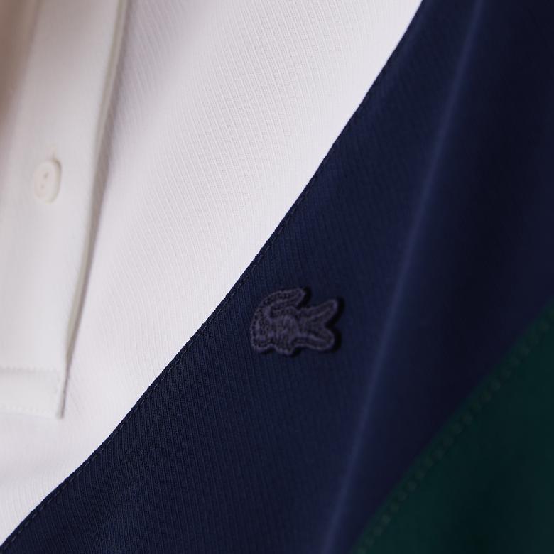 Lacoste Kadın Blok Desenli Polo Yaka Kısa Kollu Yeşil Gömlek