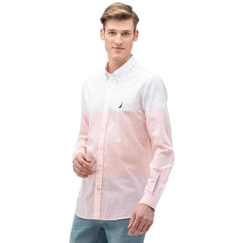 Nautica Erkek Pembe Uzun Kollu Slim Fit Gömlek