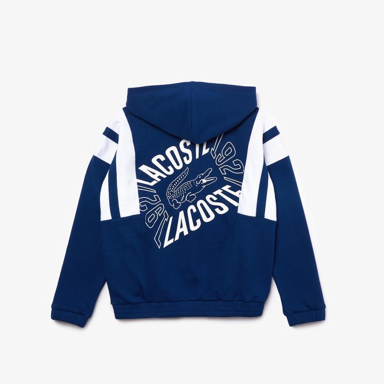 Lacoste Çocuk Blok Desenli Baskılı Fermuarlı Lacivert Sweatshirt