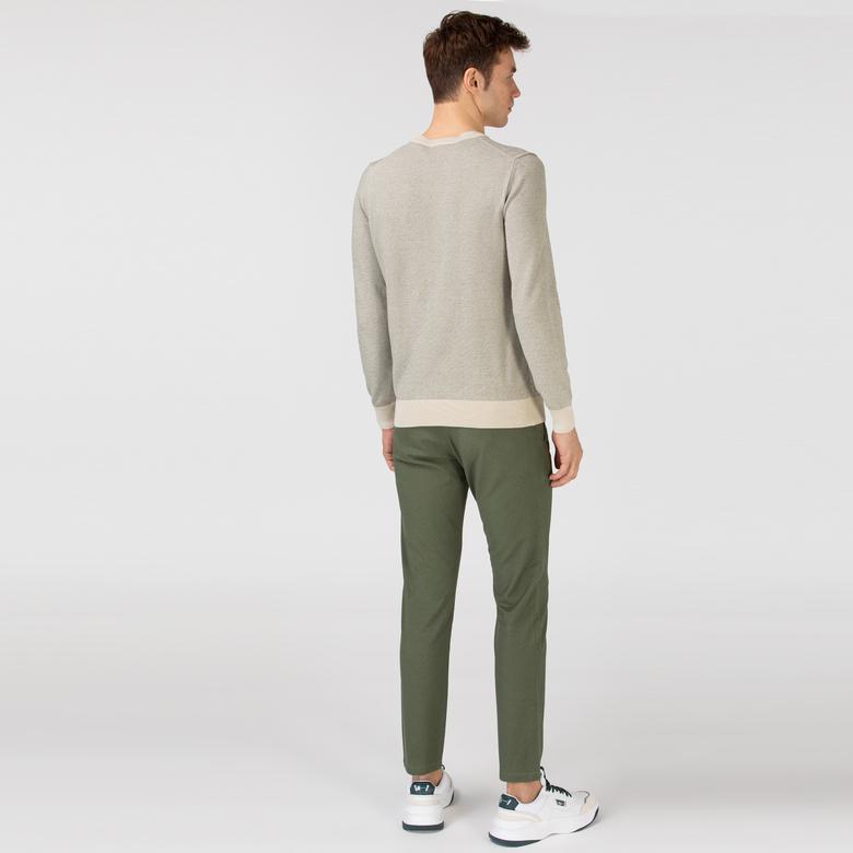 Lacoste Erkek Slim Fit Desenli Haki Pantolon