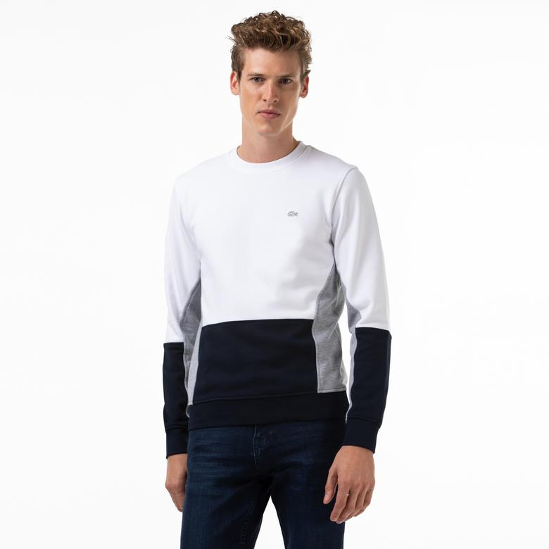 Lacoste Erkek Blok Desenli Bisiklet Yaka Beyaz Sweatshirt