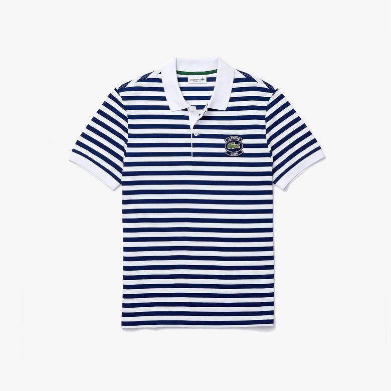 Lacoste Erkek Regular Fit Çizgili Mavi - Beyaz Polo